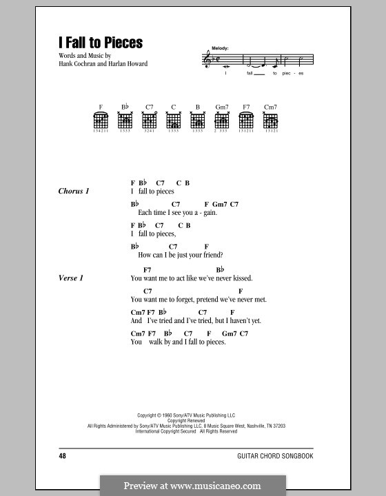 I Fall to Pieces (Patsy Cline): Lyrics and chords (with chord boxes) by Hank Cochran, Harlan Howard