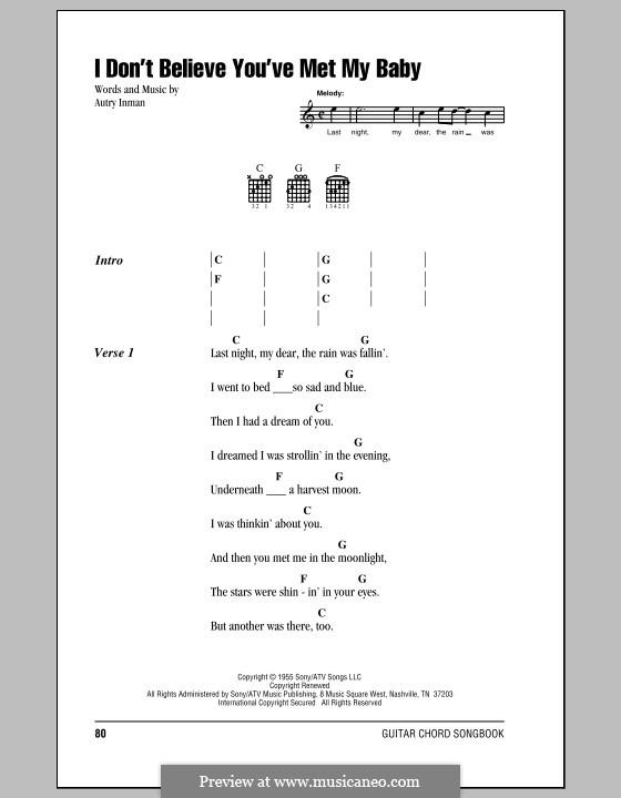 I Don't Believe You've Met My Baby (The Louvin Brothers): Lyrics and chords (with chord boxes) by Autry Inman