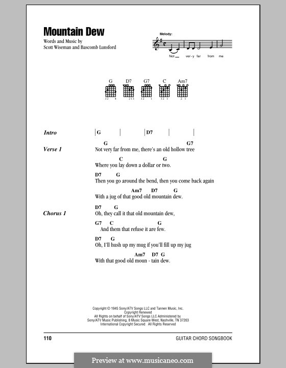 Mountain Dew: Lyrics and chords (with chord boxes) by Bascomb Lunsford