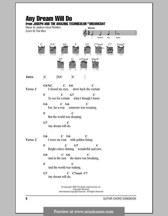 Any Dream Will Do: Lead sheet by Andrew Lloyd Webber
