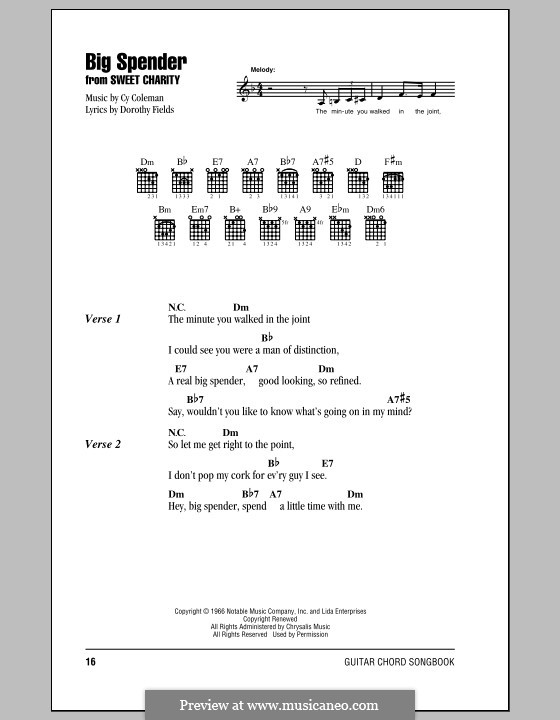 Big Spender (from Sweet Charity): Lyrics and chords (with chord boxes) by Cy Coleman
