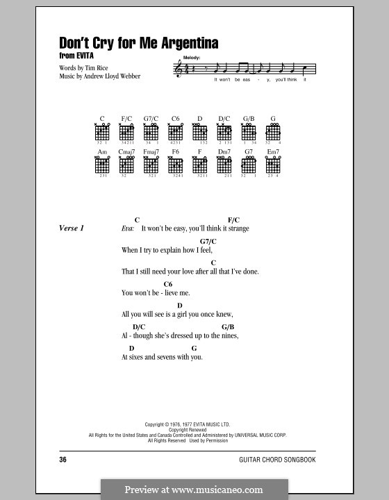 Don't Cry for Me Argentina: Lyrics and chords (with chord boxes) by Andrew Lloyd Webber