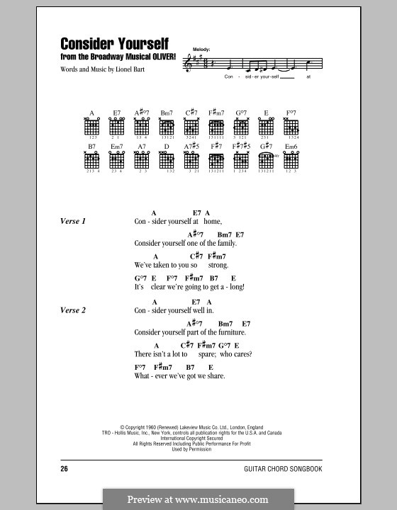 Consider Yourself (from Oliver!): Lyrics and chords (with chord boxes) by Lionel Bart