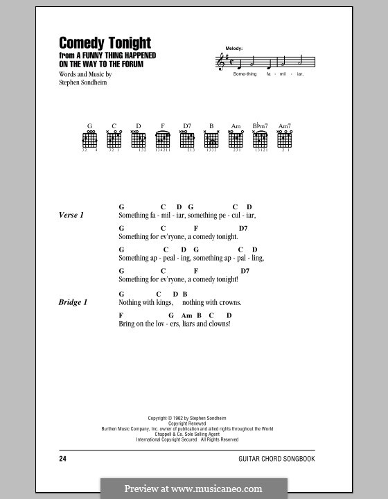 Comedy Tonight: Lyrics and chords (with chord boxes) by Stephen Sondheim