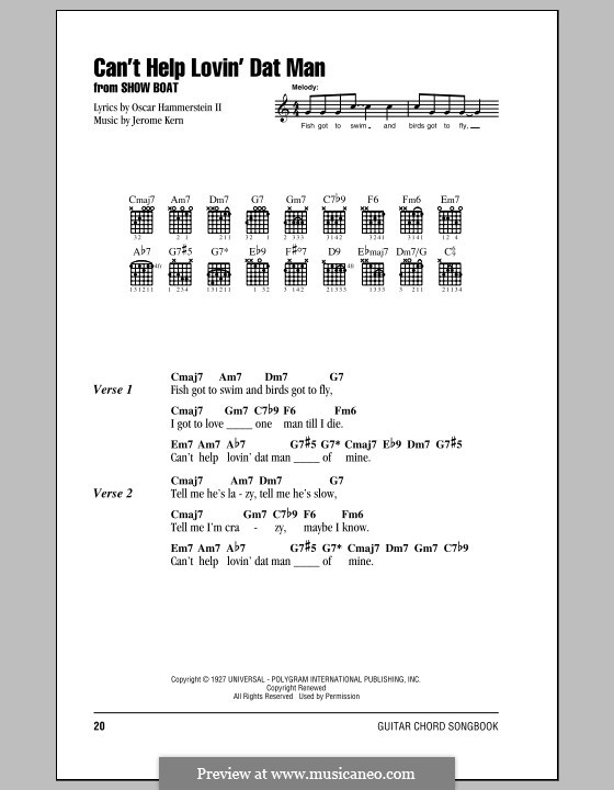 Can't Help Lovin' Dat Man (from Show Boat): Lyrics and chords (with chord boxes) by Jerome Kern