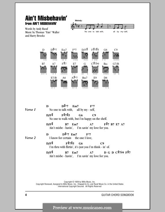 Ain't Misbehavin': Lyrics and chords (with chord boxes) by Fats Waller, Harry Brooks