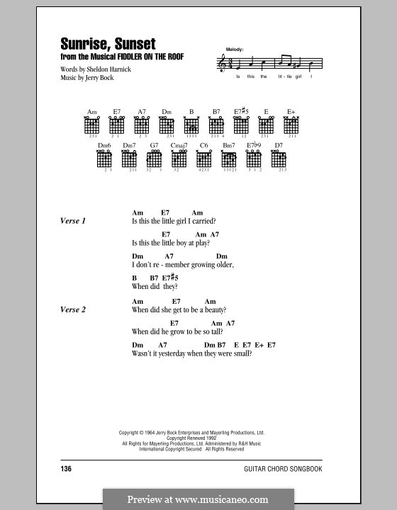 Sunrise, Sunset (from Fiddler on the Roof): Lyrics and chords (with chord boxes) by Jerry Bock