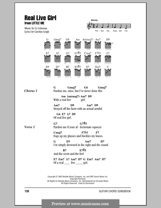 Real Live Girl: Lyrics and chords (with chord boxes) by Cy Coleman