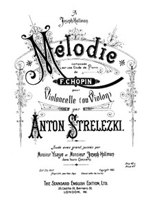 Melody on an Etude by Chopin for Cello (or Violin) and Piano: Melody on an Etude by Chopin for Cello (or Violin) and Piano by Anton Strelezki