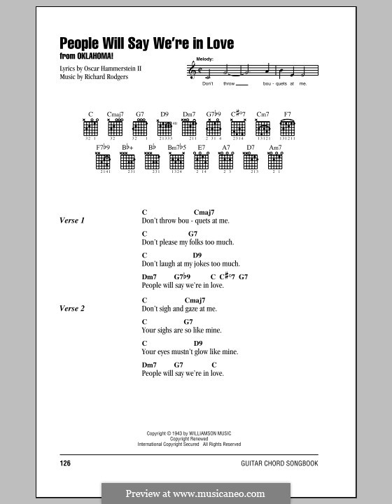 People will Say We're in Love: Lyrics and chords (with chord boxes) by Richard Rodgers
