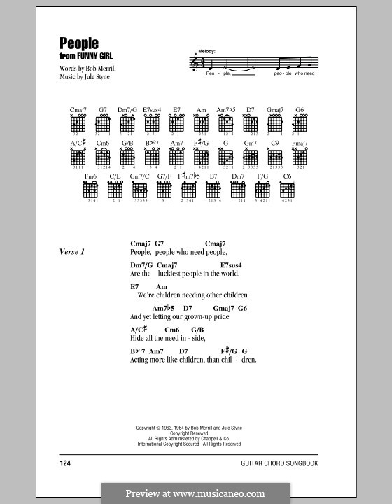 People from Funny Girl (Barbra Streisand): Lyrics and chords (with chord boxes) by Jule Styne