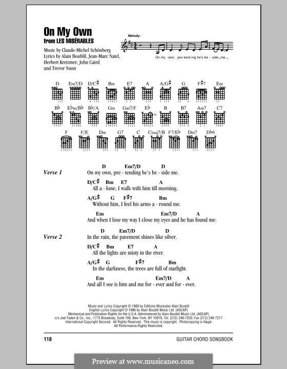 On My Own: Lyrics and chords (with chord boxes) by Claude-Michel Schönberg