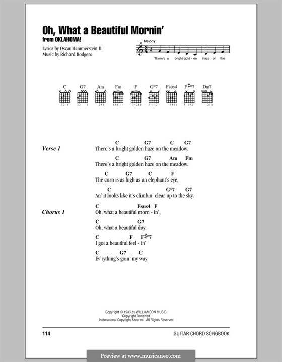 Oh, What a Beautiful Mornin' (from 'Oklahoma!'): Lyrics and chords (with chord boxes) by Richard Rodgers