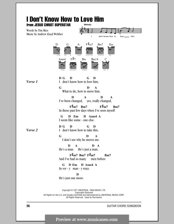 I Don't Know How to Love Him: Lyrics and chords (with chord boxes) by Andrew Lloyd Webber