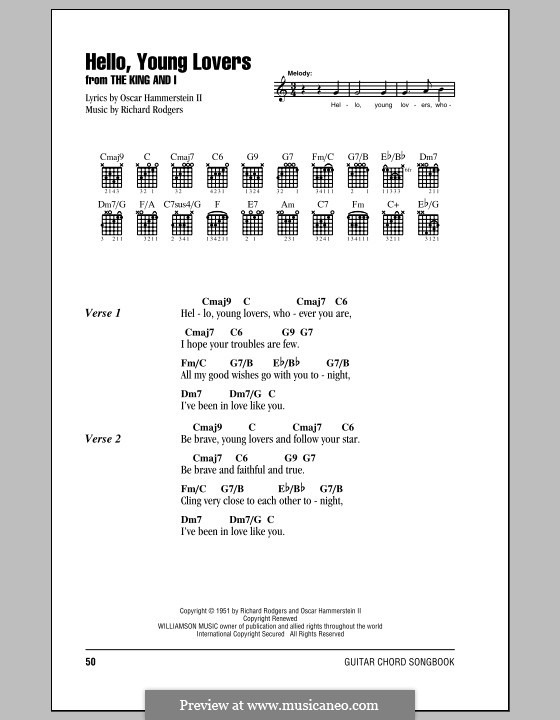 Hello, Young Lovers: Lyrics and chords (with chord boxes) by Richard Rodgers