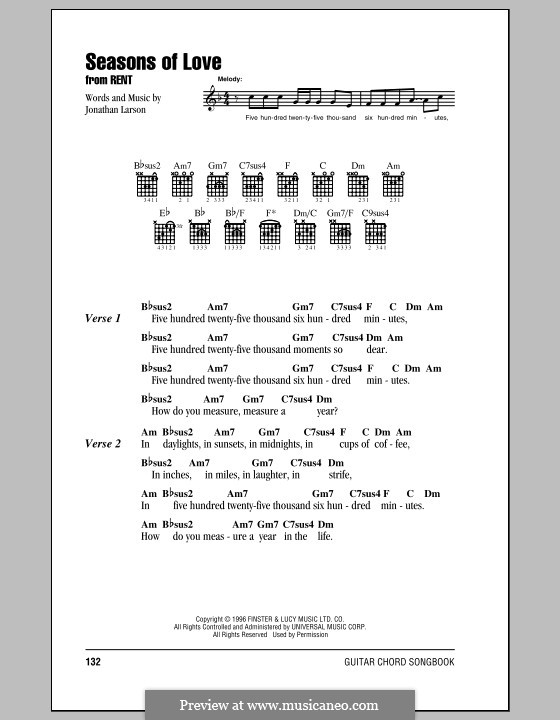 Seasons Of Love From Rent By J Larson Sheet Music On Musicaneo