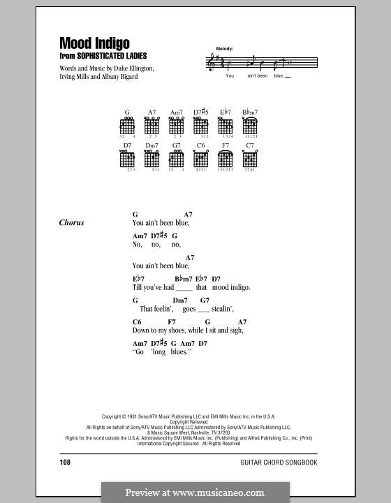Mood Indigo: Lyrics and chords (with chord boxes) by Irving Mills, Albany Bigard, Duke Ellington