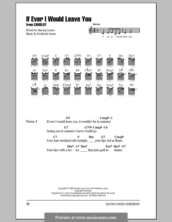 If Ever I Would Leave You (from Camelot): Lyrics and chords (with chord boxes) by Frederick Loewe