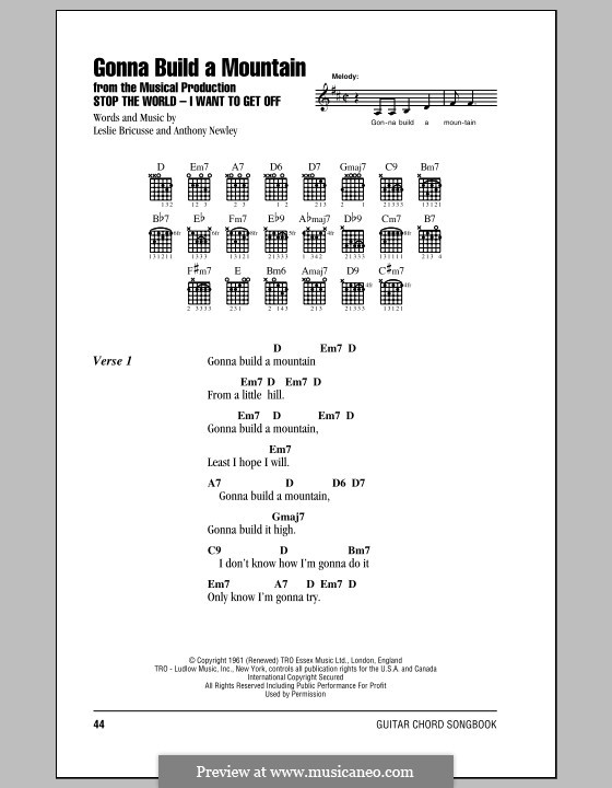 Gonna Build a Mountain: Lyrics and chords (with chord boxes) by Anthony Newley