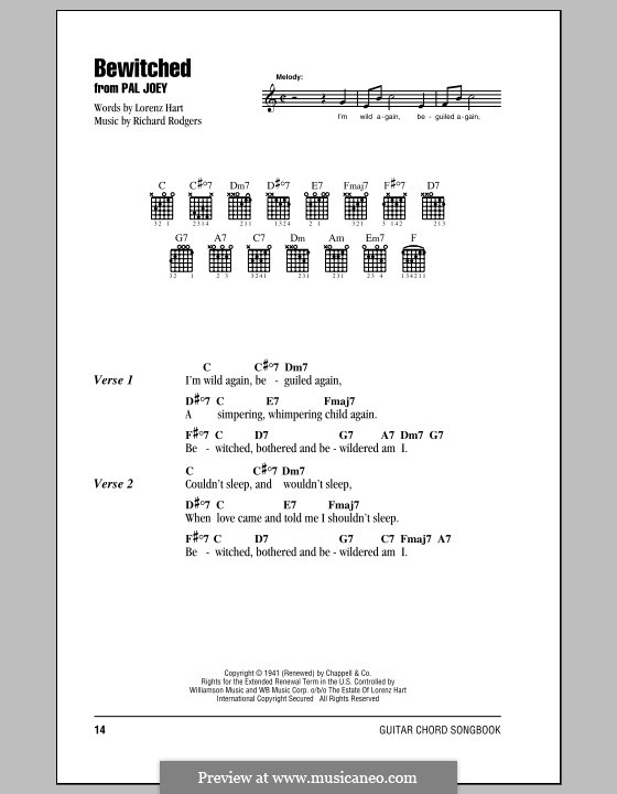 Bewitched (The Betty Smith Group): Lyrics and chords (with chord boxes) by Richard Rodgers