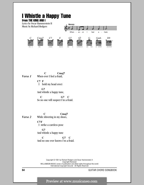 I Whistle a Happy Tune (from The King and I): Lyrics and chords (with chord boxes) by Richard Rodgers