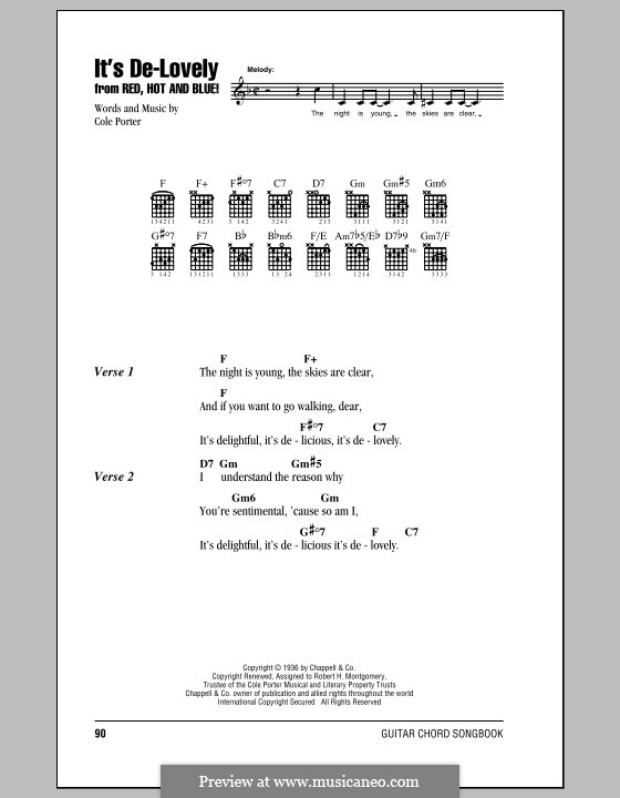 It's De-Lovely: Lyrics and chords (with chord boxes) by Cole Porter