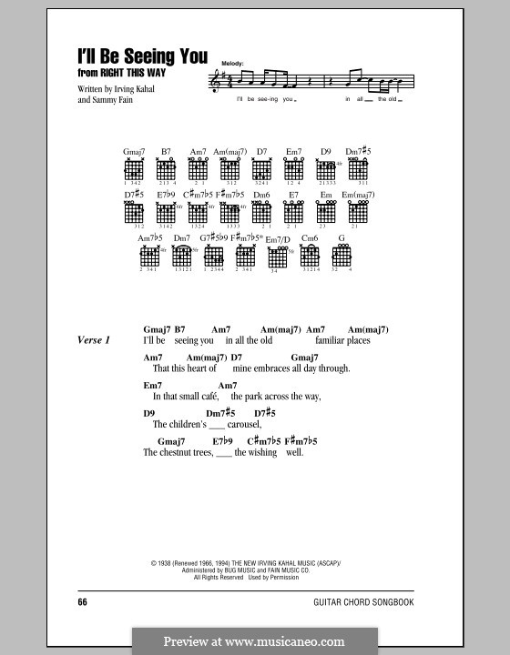 I'll Be Seeing You: Lyrics and chords (with chord boxes) by Irving Kahal, Sammy Fain