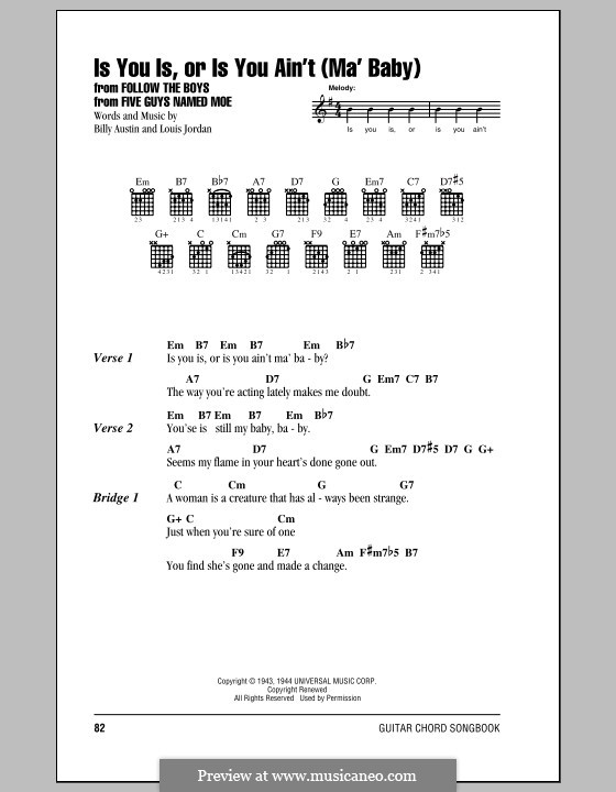 Is You Is, or Is You Ain't (Ma' Baby): Lyrics and chords (with chord boxes) by Billy Austin