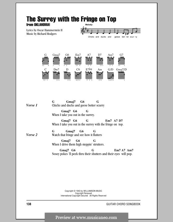 The Surrey with the Fringe on Top: Lyrics and chords (with chord boxes) by Richard Rodgers