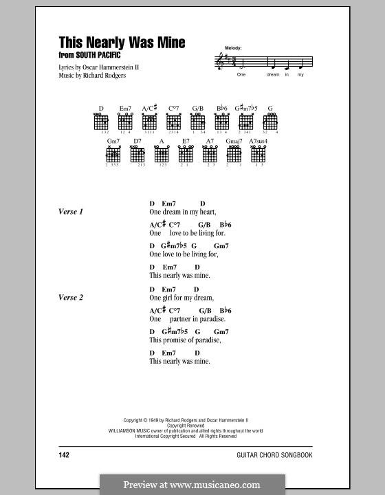 This Nearly Was Mine (from South Pacific): Lyrics and chords (with chord boxes) by Richard Rodgers
