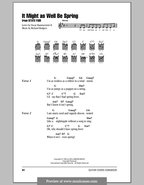 It Might as Well Be Spring: Lyrics and chords with chord boxes by Richard Rodgers