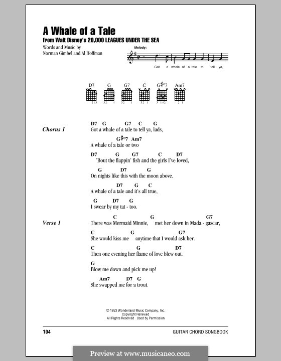 A Whale of a Tale (from 20,000 Leagues Under the Sea): Lyrics and chords (with chord boxes) by Al Hoffman
