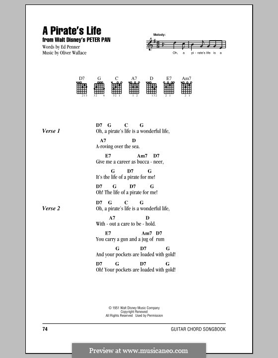 A Pirate's Life (Oliver Wallace): Lyrics and chords (with chord boxes) by Ed Penner