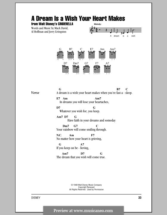 A Dream Is a Wish Your Heart Makes (from Disney's Cinderella): Lyrics and chords (with chord boxes) by Al Hoffman, Jerry Livingston, Mack David