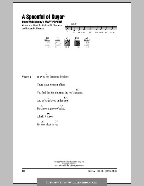 A Spoonful of Sugar: Lyrics and chords (with chord boxes) by Richard M. Sherman, Robert B. Sherman