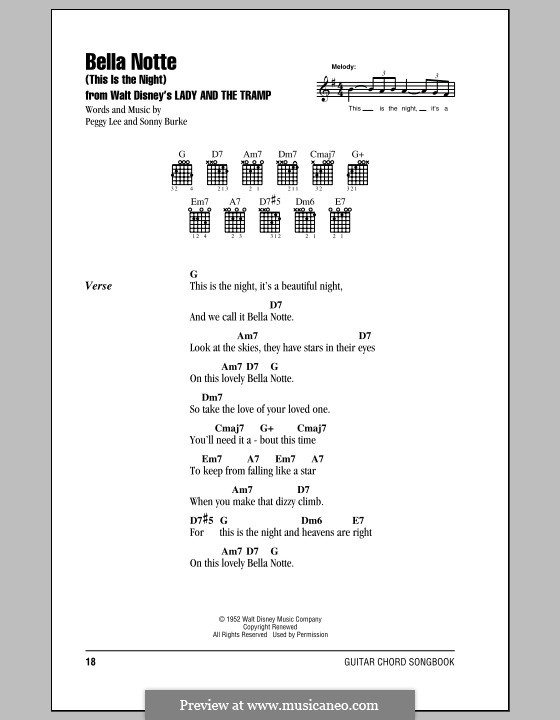 Bella Notte (This is the Night): Lyrics and chords (with chord boxes) by Peggy Lee, Sonny Burke