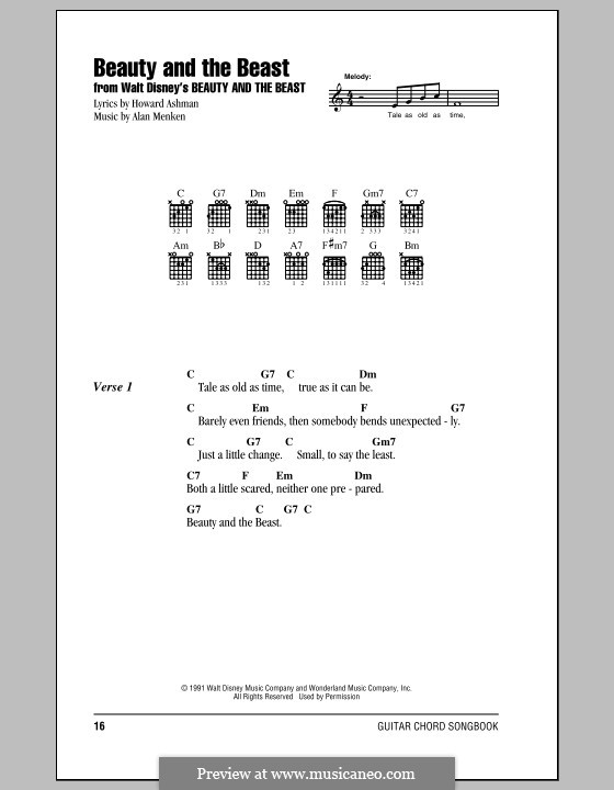 Beauty and the Beast (Celine Dion and Peabo Bryson): Lyrics and chords (with chord boxes) by Alan Menken