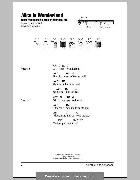 Alice in Wonderland (Bill Evans): Lyrics and chords (with chord boxes) by Bob Hilliard, Sammy Fain