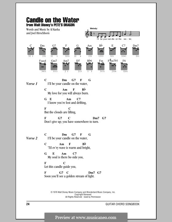 Candle on the Water (from Walt Disney's Pete's Dragon): Lyrics and chords (with chord boxes) by Al Kasha, Joel Hirschhorn