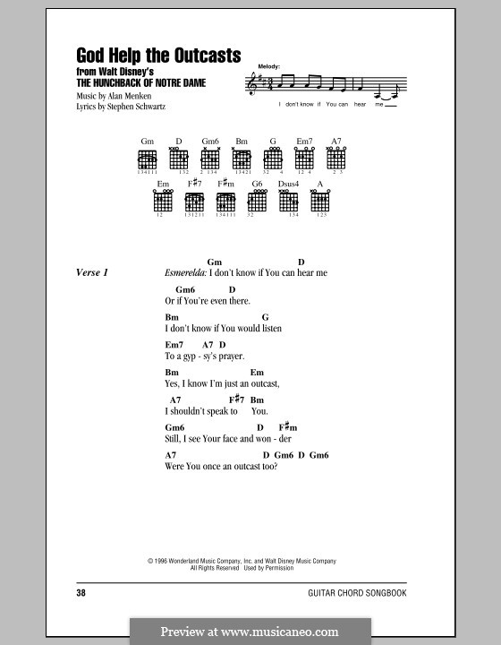 God Help the Outcasts (from The Hunchback of Notre Dame): Lyrics and chords (with chord boxes) by Alan Menken