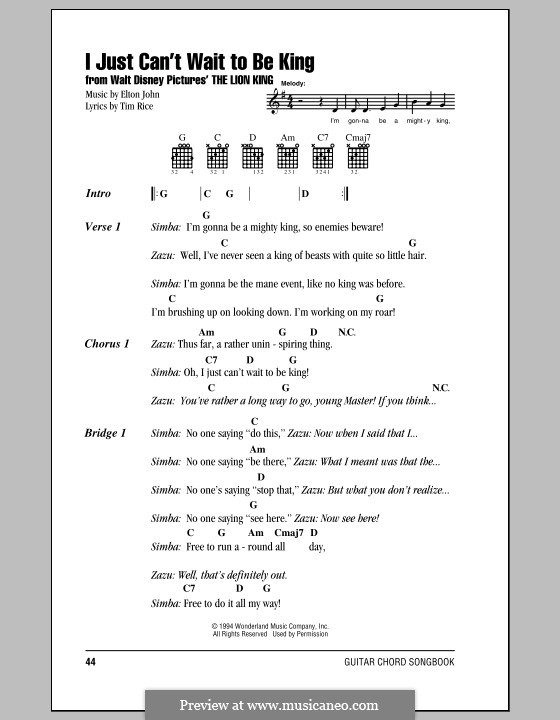 I Just Can't Wait To Be King (from The Lion King): Lyrics and chords (with chord boxes) by Elton John