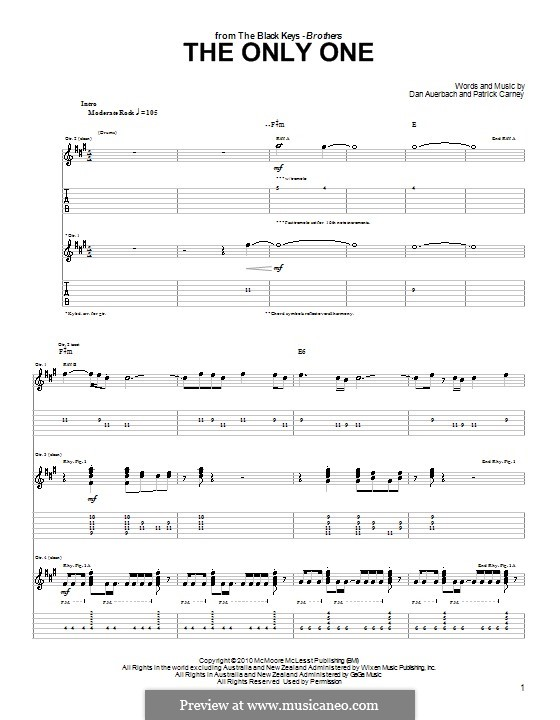 The Only One (The Black Keys): For guitar with tab by Daniel Auerbach, Patrick Carney