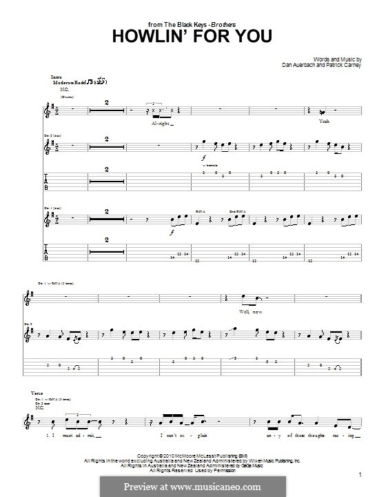 Howlin' for You (The Black Keys): For guitar with tab by Daniel Auerbach, Patrick Carney