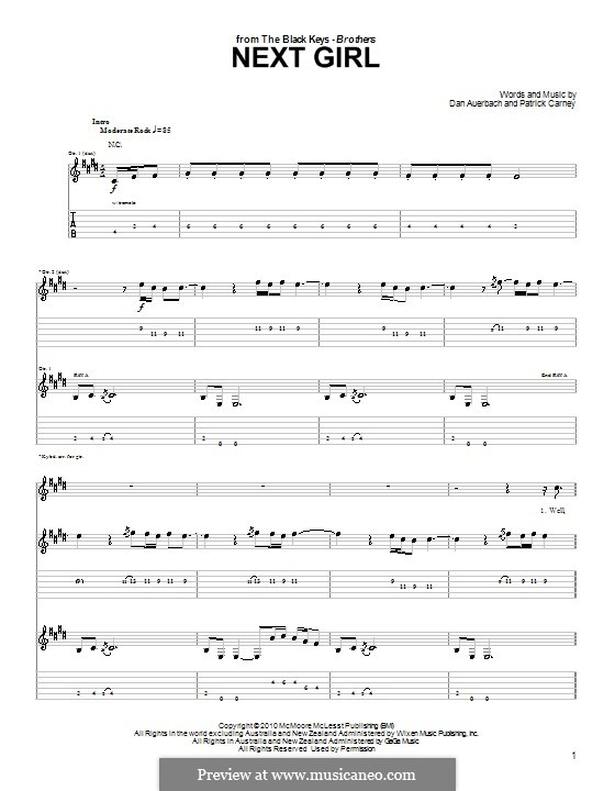 Next Girl (The Black Keys): For guitar with tab by Daniel Auerbach, Patrick Carney