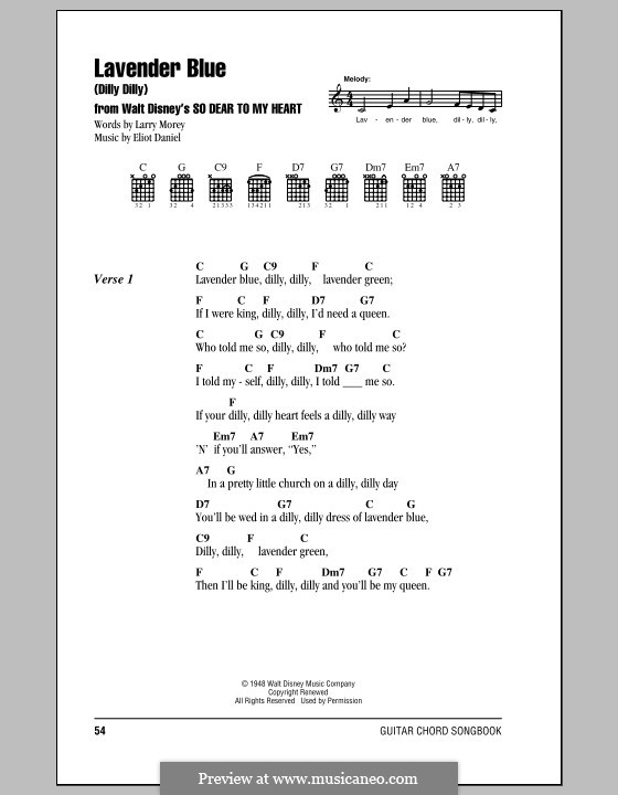 Lavender Blue (Dilly Dilly): Lyrics and chords (with chord boxes) by Eliot Daniel, Larry Morey