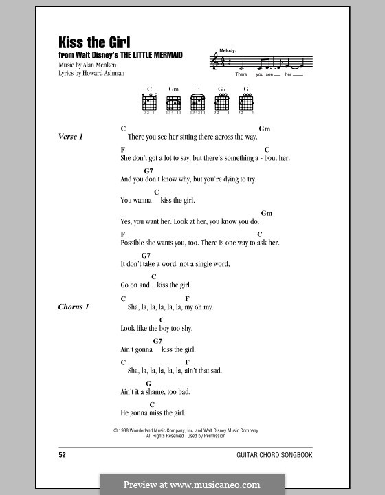 Kiss the Girl (from The Little Mermaid): Lyrics and chords (with chord boxes) by Alan Menken