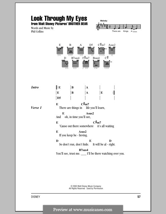 Look Through My Eyes (from Walt Disney's Brother Bear): Lyrics and chords (with chord boxes) by Phil Collins