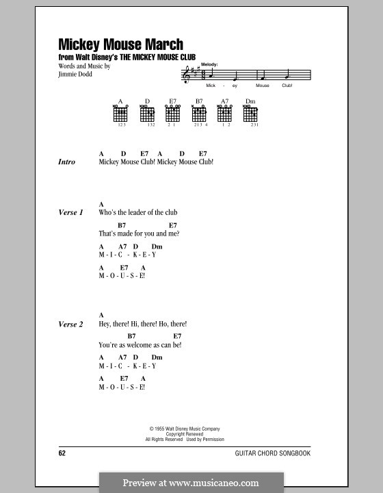 Mickey Mouse March: Lyrics and chords (with chord boxes) by Jimmie Dodd