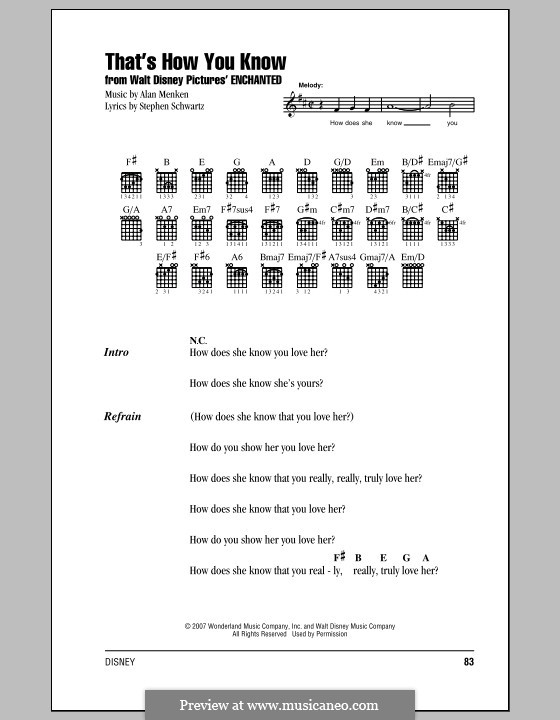 That's How You Know: Lyrics and chords (with chord boxes) by Alan Menken