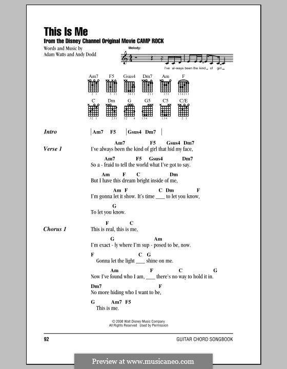 This Is Me (Demi Lovato): Lyrics and chords (with chord boxes) by Adam Watts, Andrew Dodd